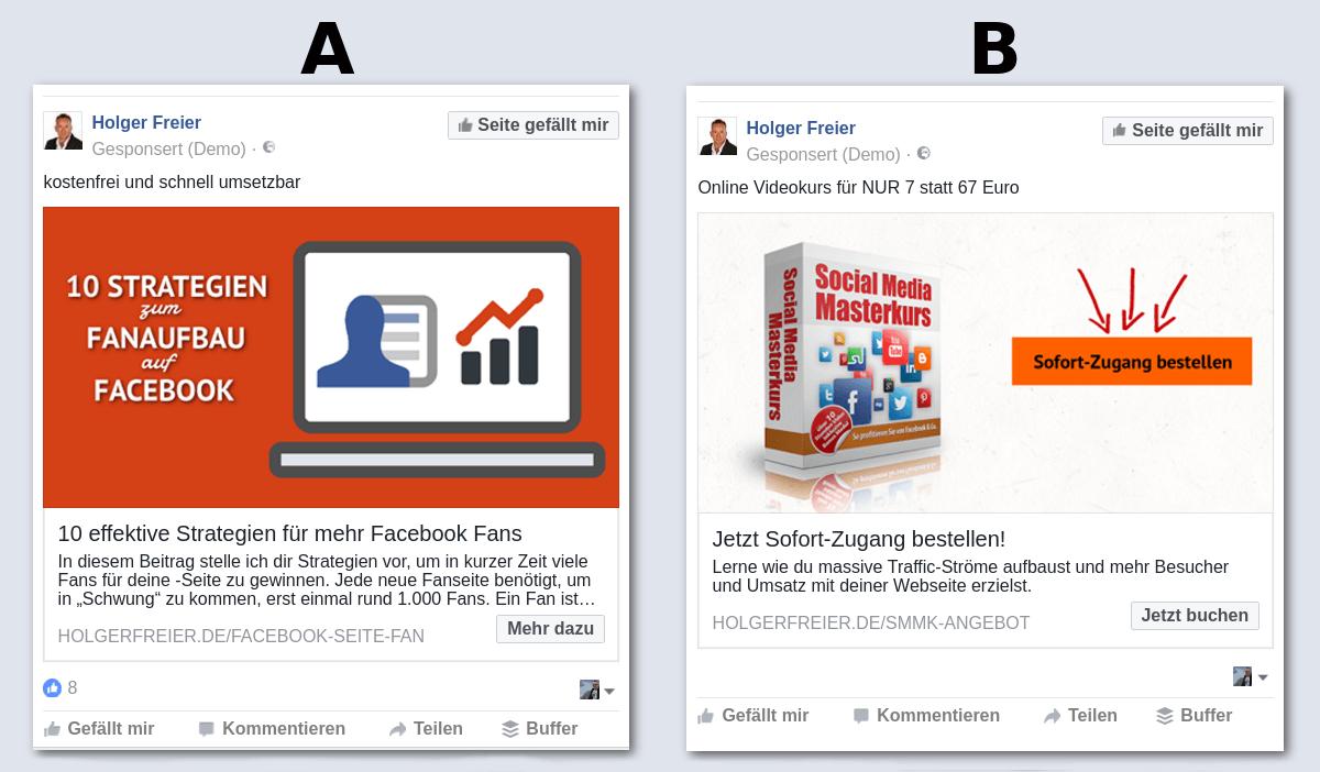 Native Facebook Anzeige vs Sales Ad