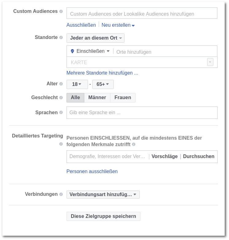 facebook zielgruppe auswählen flex targeting