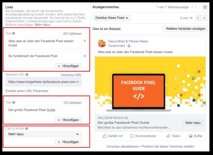 split-test anzeigen facebook