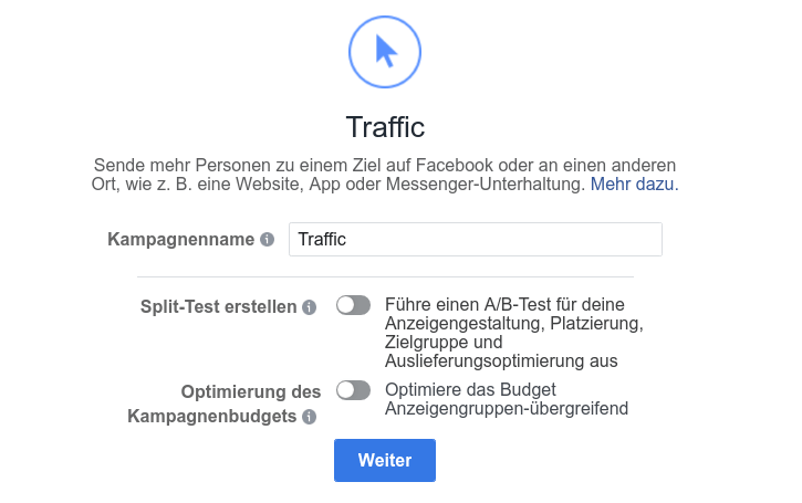 facebook-traffic-kampagne splittest erstellen